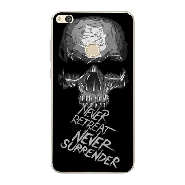 Husă Dark Minimal Skull Never Retreat Never Surrender HUAWEI P9 Lite 2017-Guardo.shop-Guardo.shop