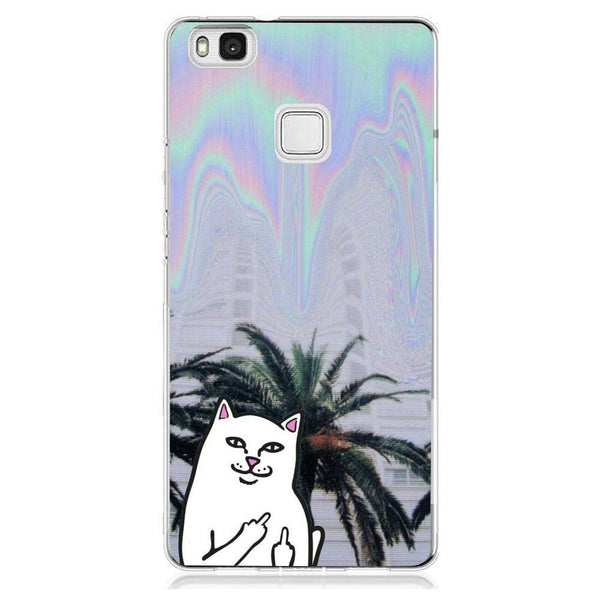 Husă Middle Finger Cat Psy Background HUAWEI P9 Lite-Guardo.shop-Guardo.shop