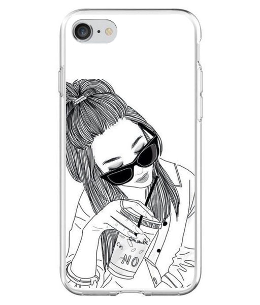 Husă Tumblr Cool Girl Coffe Drawing APPLE Iphone 7-Guardo.shop-Guardo.shop