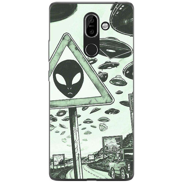 Husa Alien warning dark minimalist drawing Nokia 7-Guardo.shop