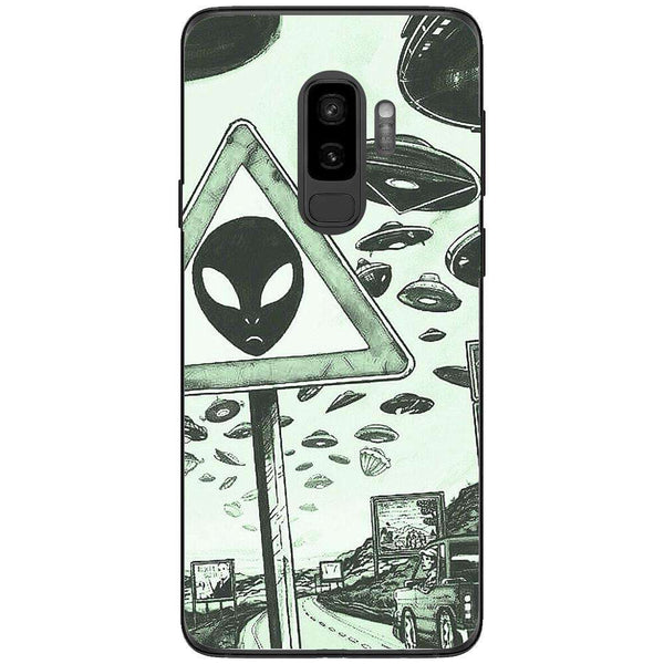 Husa Alien warning dark minimalist drawing Samsung Galaxy S9 PLUS-Guardo.shop