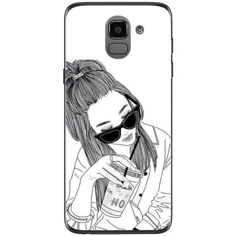 Husa Tumblr cool girl coffe drawing Samsung Galaxy J6 2018