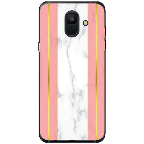 Husa White Marble with pink lines Samsung Galaxy A6 2018