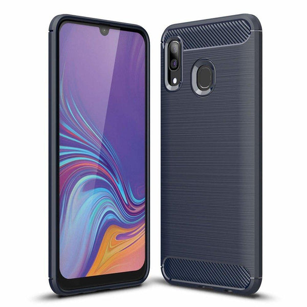 Husa Carbon Case Flexible Cover Tpu Samsung Galaxy A30 Blue Guardo
