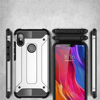 Husa Hybrid Armor Tough Rugged pentru Xiaomi Redmi Note 6 Pro silver Guardo.shop