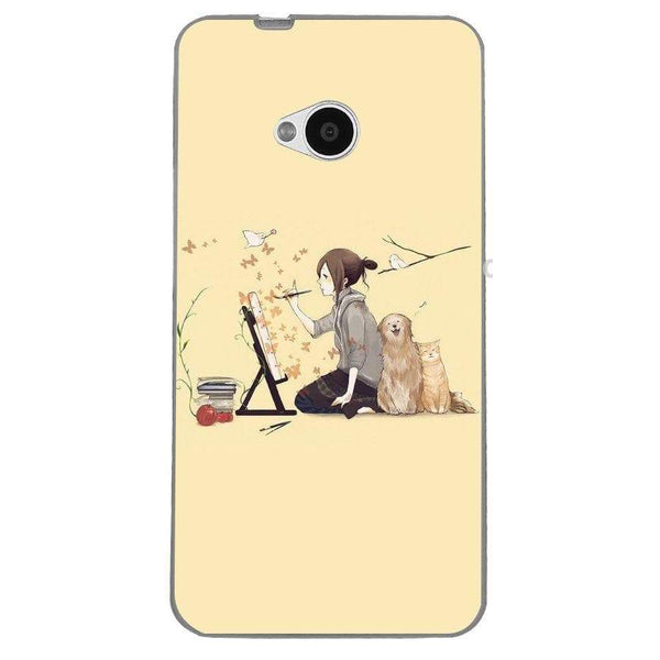 Husă Illustrator Dog Cat Art Illust HTC One M7 Guardo.shop