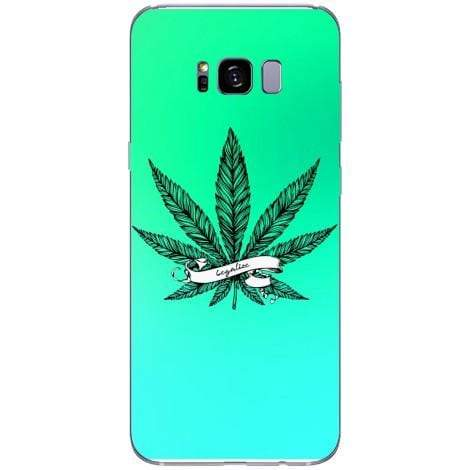 Husa Marijuana turqoise background Samsung Galaxy S8 Guardo.shop