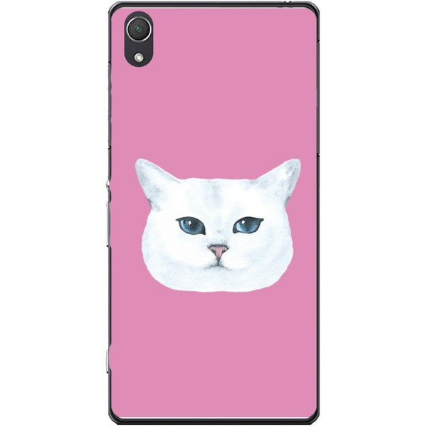 Husa White Cat Head and Pink Background Sony Xperia Z2 Guardo.shop