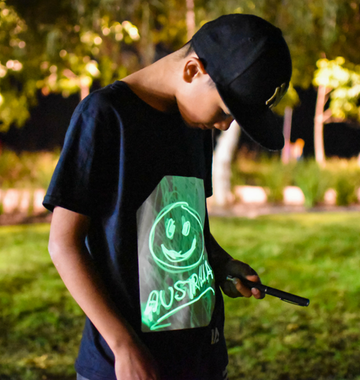 Kids Interactive Glow T-shirt | Black
