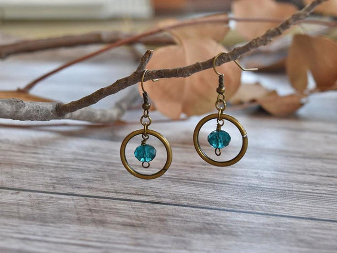 Aqua Gem and Hoop Earrings