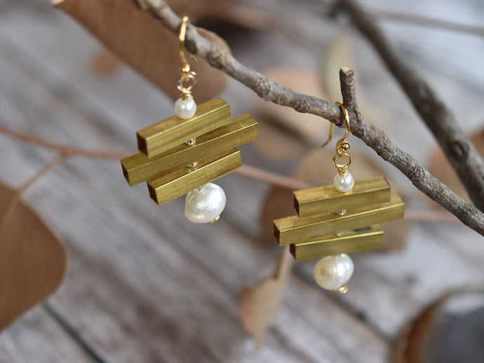 Brass and Fresh Water Pearl Earrings