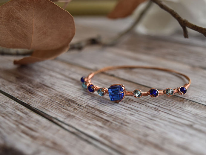 Copper and Blue Guitar String Bracelet
