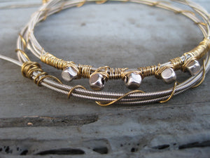 Silver and Gold Guitar String Bracelet