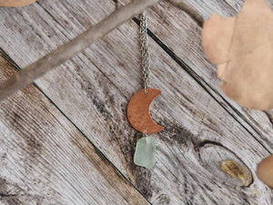 Copper Moon and Sea Glass Necklace