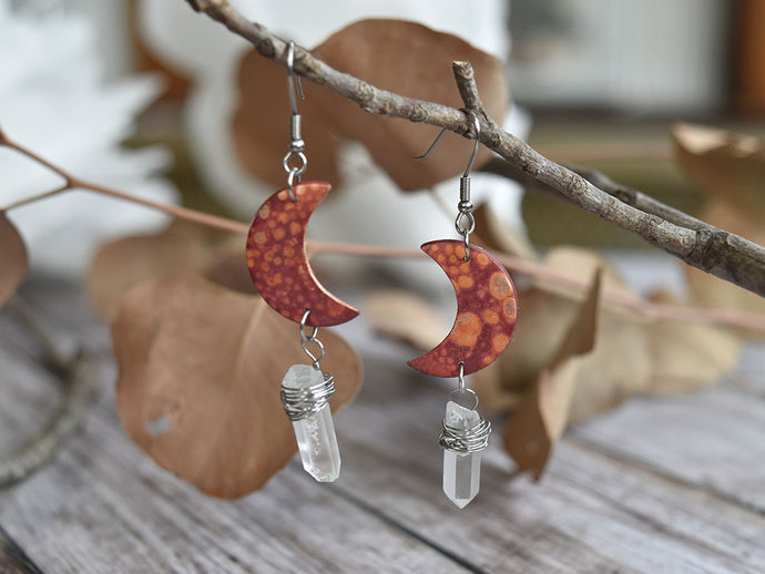 Copper Moon and Quartz Earrings