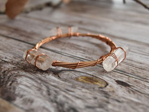 Quartz and Copper Guitar String Bracelet
