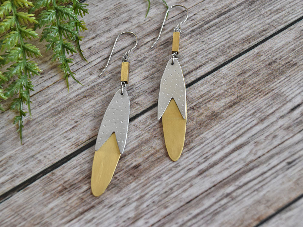 Gold & Silver Oval Earrings
