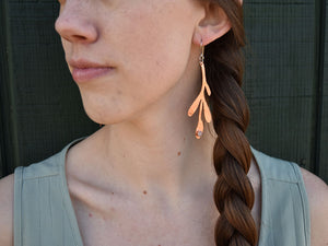Copper Fern Earrings with Rose Quartz Earrings