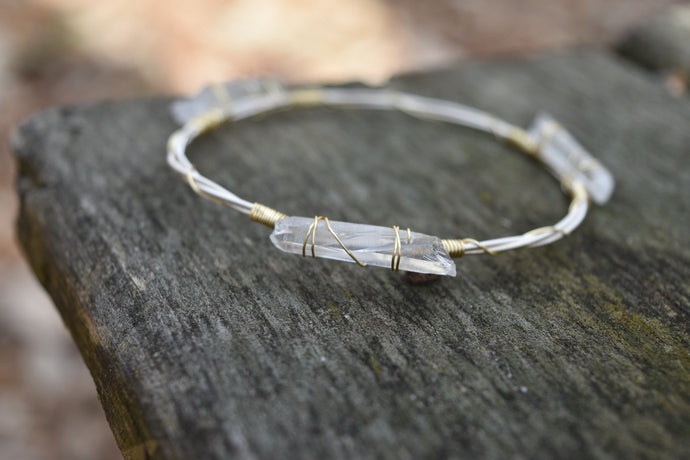Quartz Guitar String Bracelet - Gold on Silver