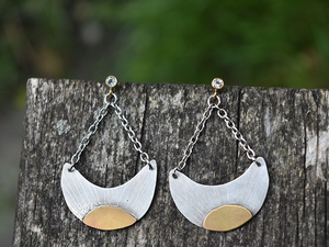 Sterling Silver Moon & Sun Earrings: The Kris Collection