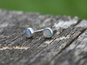 Opal Sterling Silver Stud Earrings: The Kris Collection