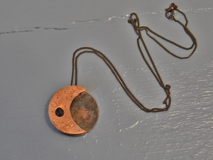 Moon and Raw Stone Necklace