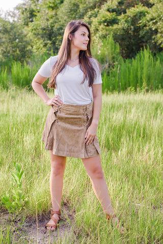 Faux Suede Mini Skirt - Taupe