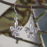 Silver finish Fleur de Lis Earrings