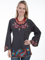 Paisley Embroidered Pullover Knit Tunic