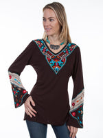 V-neck Knit Tunic with Georgette insert