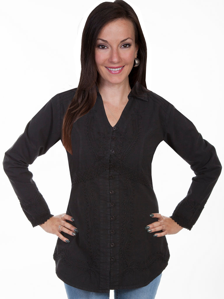 Long Sleeve Empire style Tunic with Lace trimmed cuffs and waist