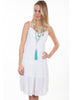 Spaghetti Strap Dress with Sun Burst soutashe in the Bodise with Ruffle trim