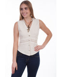 Sleeveless Empire style Blouse with  a Crochet panel and Crochet trim