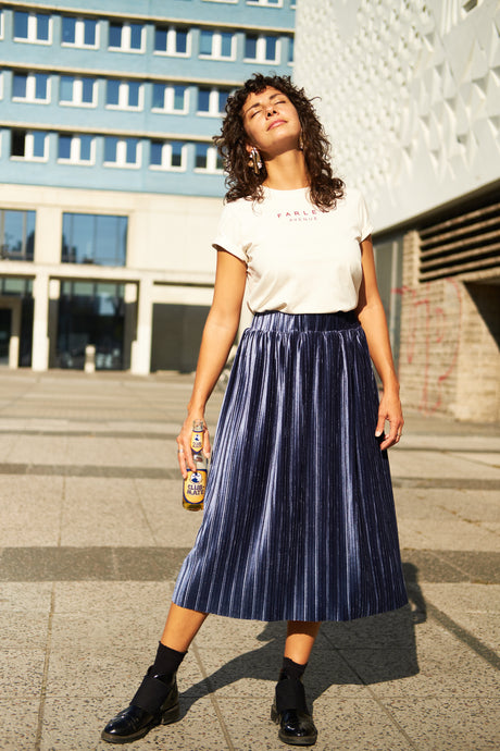 Bonnie Pleated Velvet Skirt