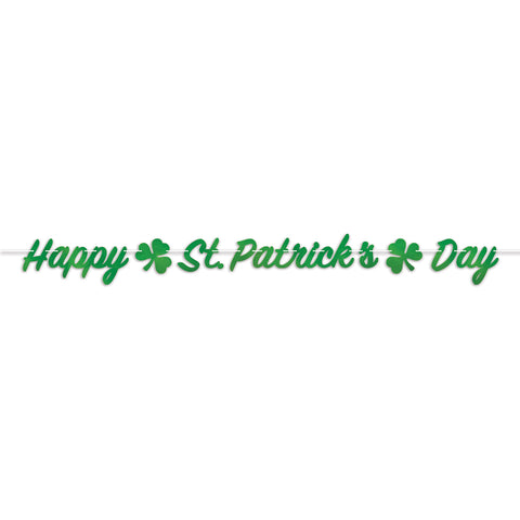 "Foil Happy St. Patrick's Day Banner 7.25"" x 7' (Each)"