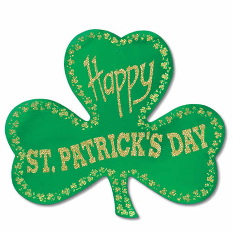 "Glittered Foil Shamrock Cutout 15.5"" (Each)"