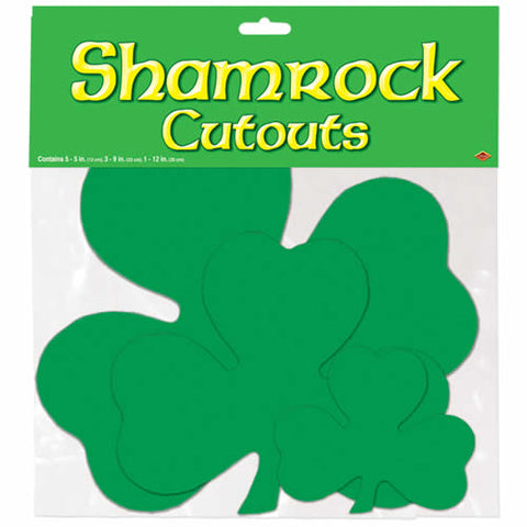 "Printed Shamrock Cutouts Assorted - Printed on 2 Sides, 5 - 5"", 3 - 9"", 1 - 12"" (Pack of 9)"
