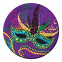 "7"" Mardi Gras Mask Plate (Pack of 8)"