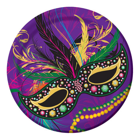 "9"" Mardi Gras Mask Plate (Pack of 8)"