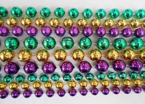 "48"" Mix Metallic Purple, Gold and Green Mardi Gras Beads - Bag (10 Dozen)"