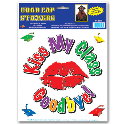 "Kiss My Class Goodbye Grad Cap Sticker 9"" Diameter and 4 1"" Grad Cap Stickers Included (Pack)"
