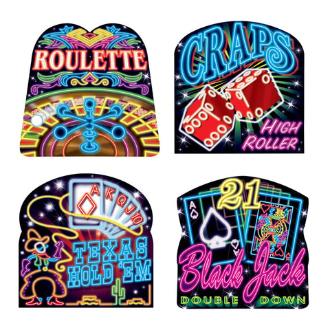 "Neon Casino Cutouts 16"" - Printed on 2 Sides (Pack of 4)"