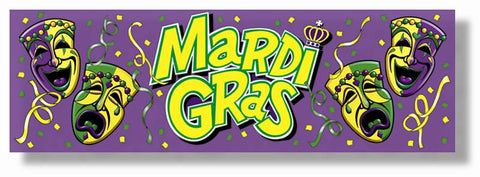"Mardi Gras Sign Banner 63"" x 21"" (Each)"
