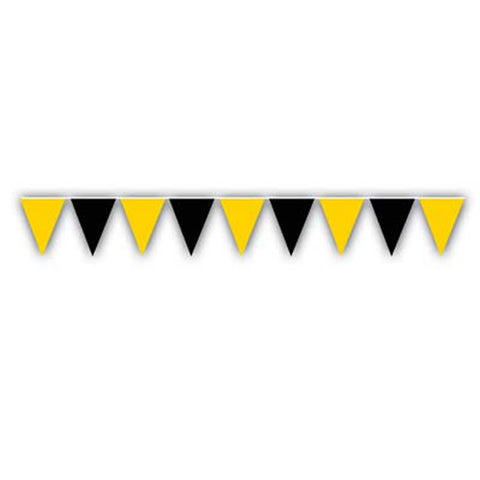 "'Black and Gold Outdoor Pennant Banner 17"" x 30'' (Each)'"
