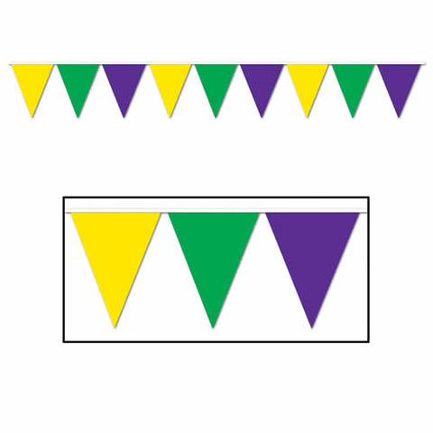 "'Purple, Green, and Gold Indoor/Outdoor Pennant Banner 10"" x 12'' (Each)'"