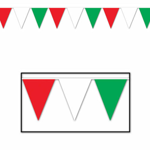 "Red, Green and White Indoor/Outdoor Pennant Banner 10"" x 12' (Each)"