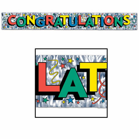 "'Metallic Congratulations Fringe Banner 8"" x 5'' - Multi-Color Lettering (Pack)'"