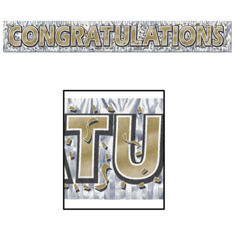 "'Metallic Congratulations Fringe Banner 8"" x 5'' (Each)'"