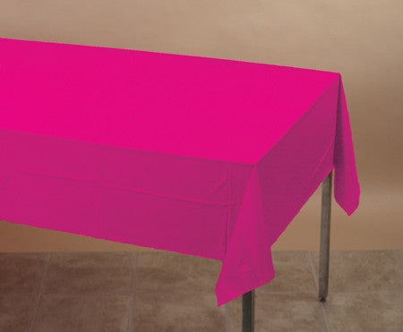 "Hot Magenta Plastic Table Cover 54"" x 88"" (Each)"