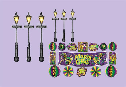 "Mardi Gras Decor and Street Light Props 8"" - 46"" (21-Piece Pack)"